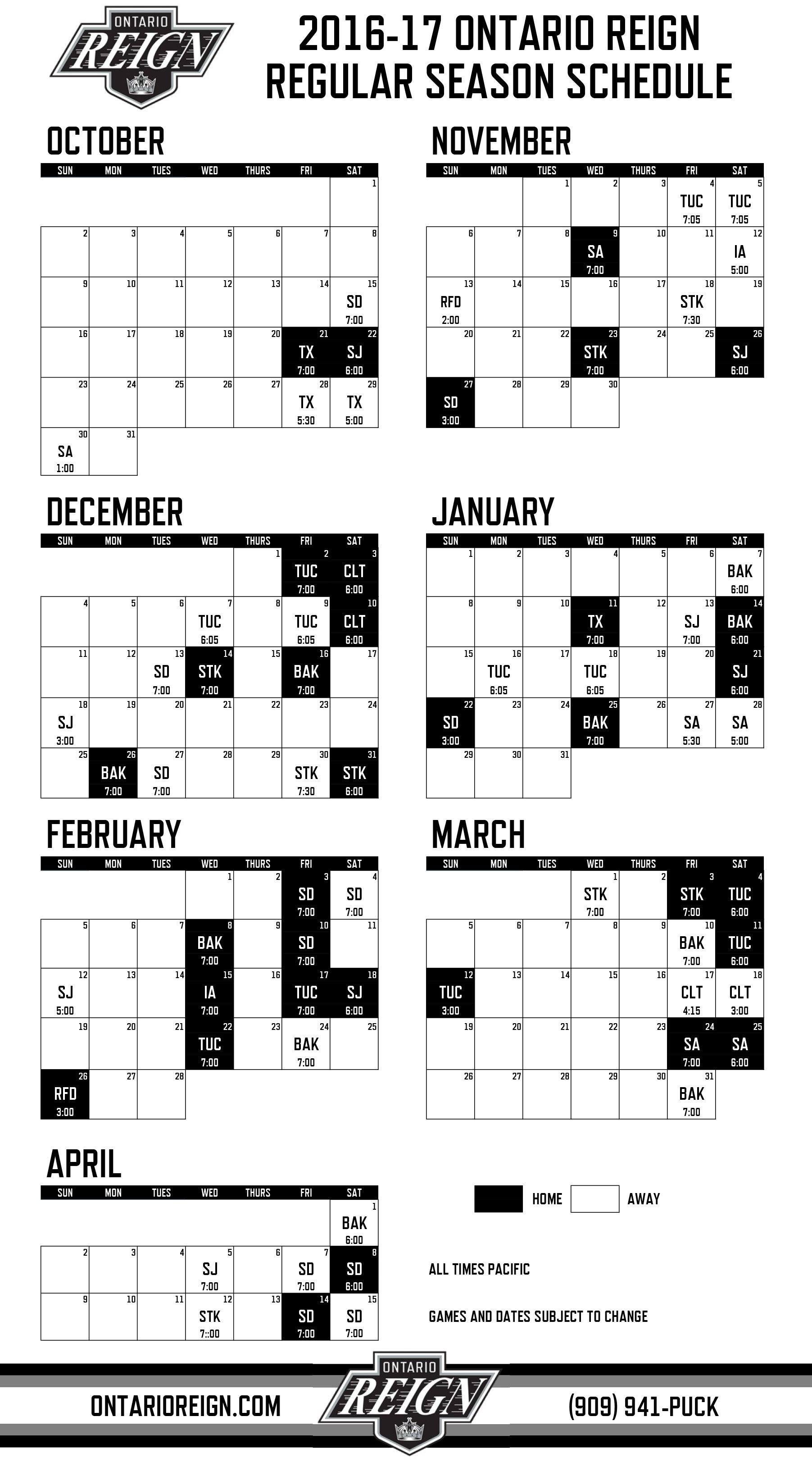 picture about Los Angeles Kings Printable Schedule titled Ontario Reign Launch 2016-17 Monthly-Year Routine